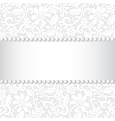 wedding card with lace ribbon and pearl vector image