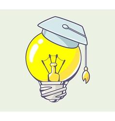 yellow lightbulb with graduation cap on c vector image vector image