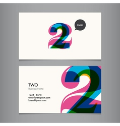 business card with number 2 vector image vector image