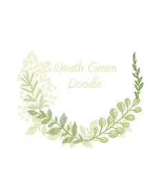 greenery doodle hand drawn floral wreath vector image