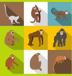 monkey types icon set flat style vector image vector image