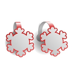 Red advertising wobblers shaped like snowflakes vector image vector image