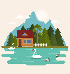 summer landscape with forest house on the lake vector image vector image