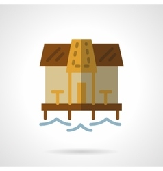 Beach bungalow flat color icon vector image vector image