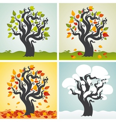 Four seasons set with tree vector image