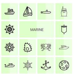 14 marine icons vector