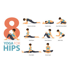 8 yoga poses for yoga for hips concept vector image