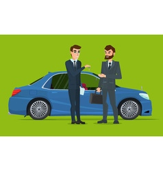A Car sale handed to other man A Contemporary vector image