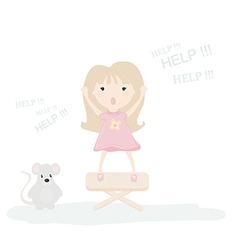 a little girl scared by a mouse vector image