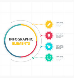 abstract circle infographic elements with four opt vector image