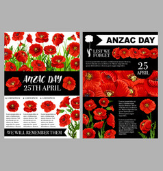 Anzac day 25 april holiday posters vector