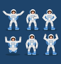 Astronaut set of movements spaceman set of poses vector