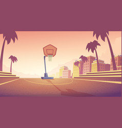 background with basketball court in city vector image