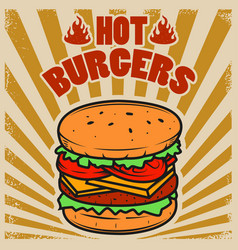 Best burgers hamburger on grunge background vector