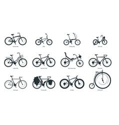 Bicycle types silhouette set vector