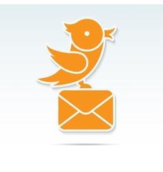 Bird carrying a letter vector