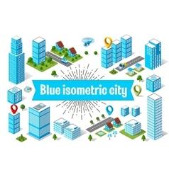 Blue city skyscraper vector
