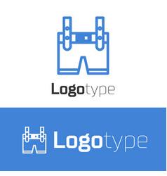 Blue line lederhosen icon isolated on white vector
