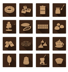 brown chocolate simple flat shadow icons set eps10 vector image