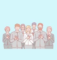 Business team congratulation applause concept vector