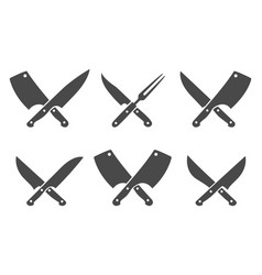 Butcher crossed knives vector