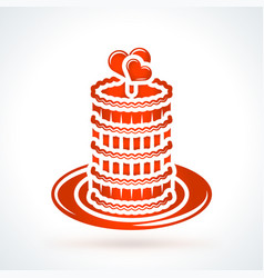 Cake with hearts st valentines day design element vector