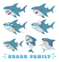 Cartoon sharks family newborn baby shark comic vector