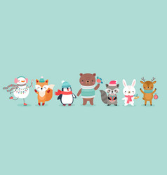 Christmas characters - animals snowmen santa vector