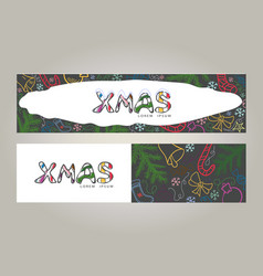 christmas doodle color banners vector image