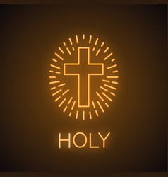 Church cross neon light icon vector