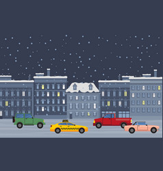 city street at night winter cityscape with cars vector image