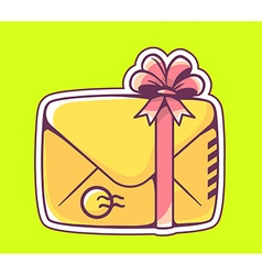 closed yellow envelope with red bow on gr vector image