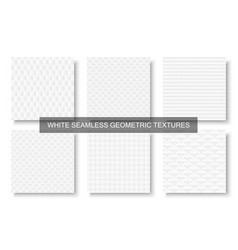 Collection of decorative white seamless textures vector