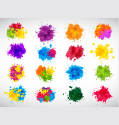 color splashes abstract ink brushes shapes liquid vector image
