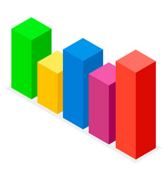 colorful bar chart volumetric rectangular image vector image