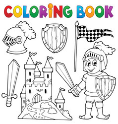 Coloring book knight theme 1 vector