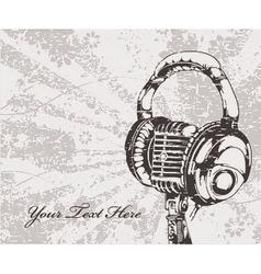 Concert wallpaper with microphone and headphones vector