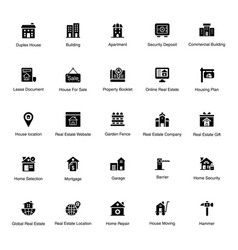 Construction solid icons pack vector