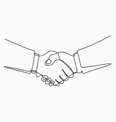 continuous line drawing of handshake handshaking vector image