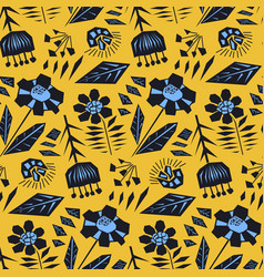 Contrast orange floral pattern with black flowers vector