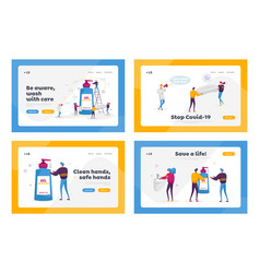 Coronavirus prevention measures landing page vector