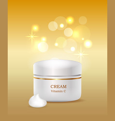 cream with vitamin c plastic container commercial vector image