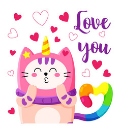 cute cartoon doodle cat vector image