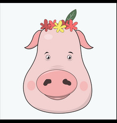 cute cartoon pig vector image