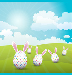 cute easter eggs with bunny ears in a sunny vector image