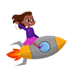 cute happy girl riding space rocket little child vector image