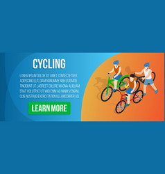 Cycling concept banner isometric style vector
