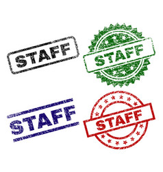 damaged textured staff seal stamps vector image