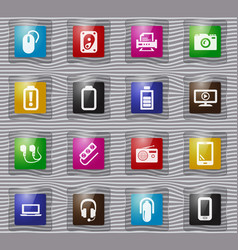 devices glass icons set vector image