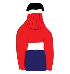 Girl in a red knitwear vector